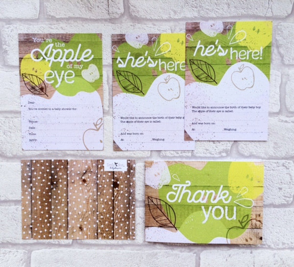 You're the Apple of my Eye card set by Little Dot Baby Shower