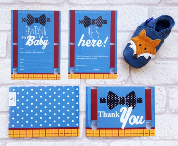 Fantastic Mr Baby card set by Little Dot Baby Shower