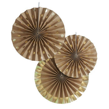 Kraft and gold foiled fan pinwheel decoration