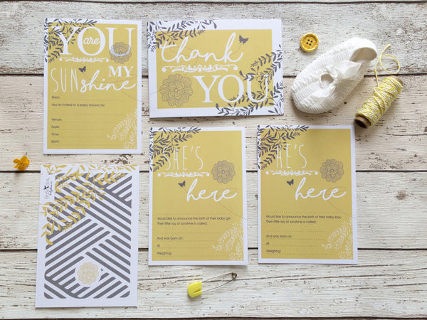 You Are My Sunshine card set by Little Dot Company