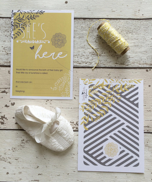 You Are My Sunshine birth announcement cards by Little Dot Company