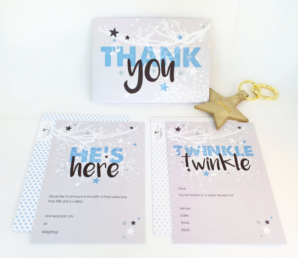 Twinkle Twinkle Baby Boy Card set by Little Dot Baby Shower