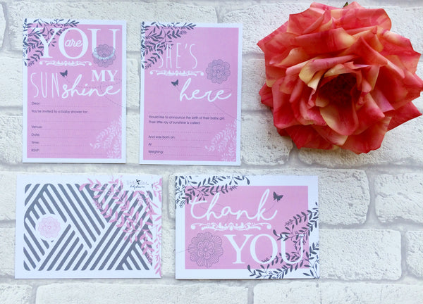 You Are My Sunshine in pink card set by Little Dot