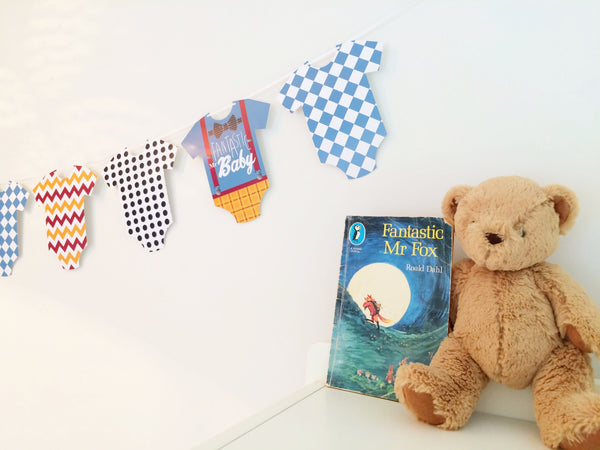 Baby grow bunting, Fantastic Mr Baby theme by Little Dot