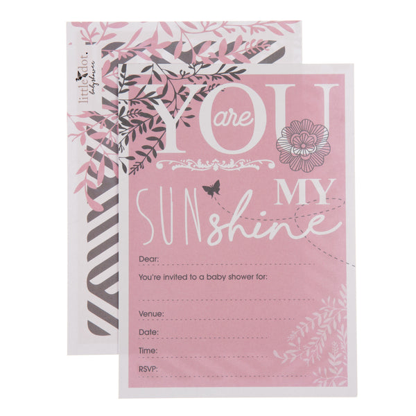 You Are My Sunshine baby shower invitations in pink by Little Dot Company