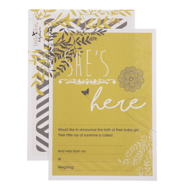 'She's here' You Are My Sunshine birth announcement cards by Little Dot