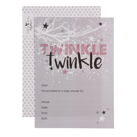 Twinkle Twinkle pink baby shower invitations by Little Dot Company