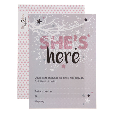 twinkle twinkle 'she's here' birth announcement cards by Little Dot Company