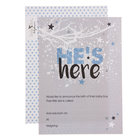 Twinkle Twinkle 'He's here' birth announcement cards by Little Dot Baby Shower