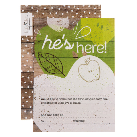 'He's here' Apple of My Eye birth announcement cards by Little Dot Baby Shower