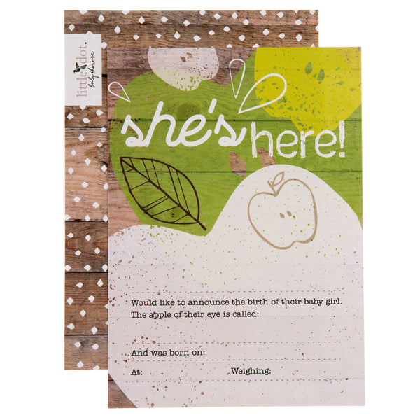 'she's here' you're the apple of my eye birth announcement cards by Little Dot Baby Shower