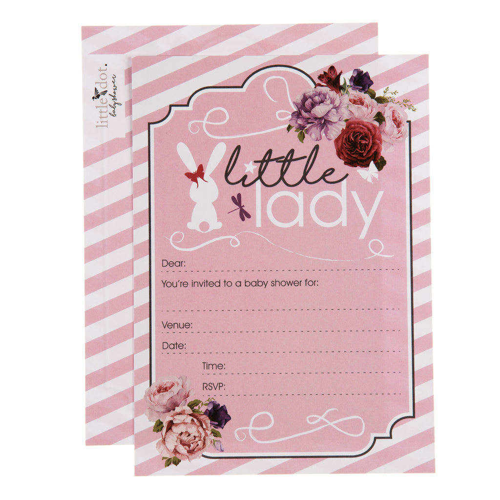 Little Lady baby shower invitations by Little Dot Baby Shower