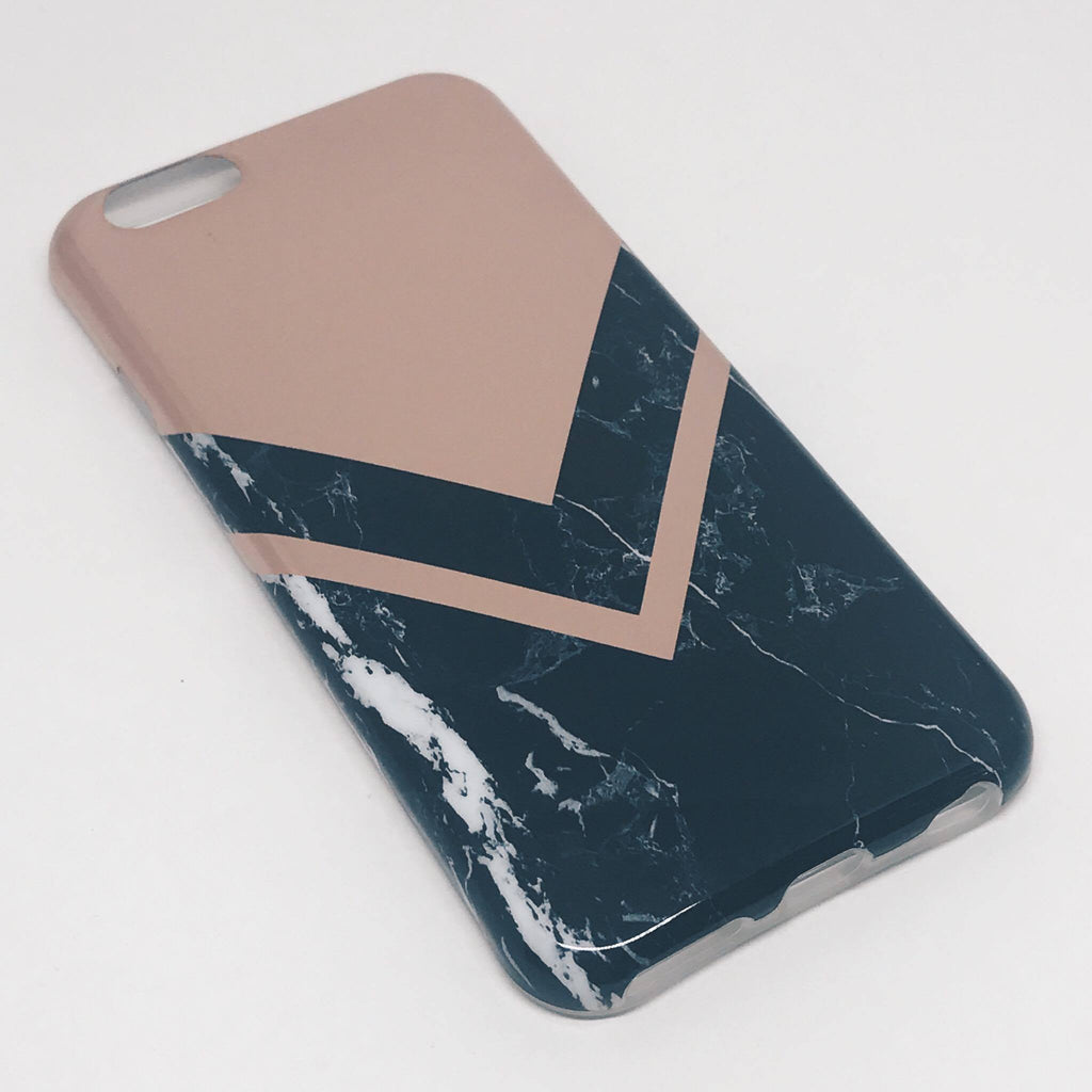 SÍMAHULSTUR MARBLE BLACK/V ROSE GOLD IPHONE 6 6S+ 7 7+ - Daría