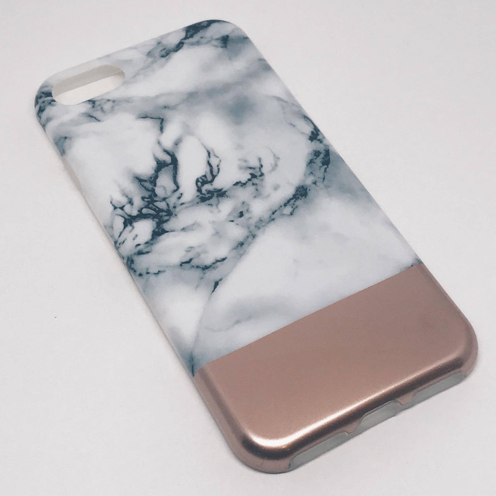 SÍMAHULSTUR MARBLE WHITE/ROSE GOLD IPHONE 6 6S+ 7 7+