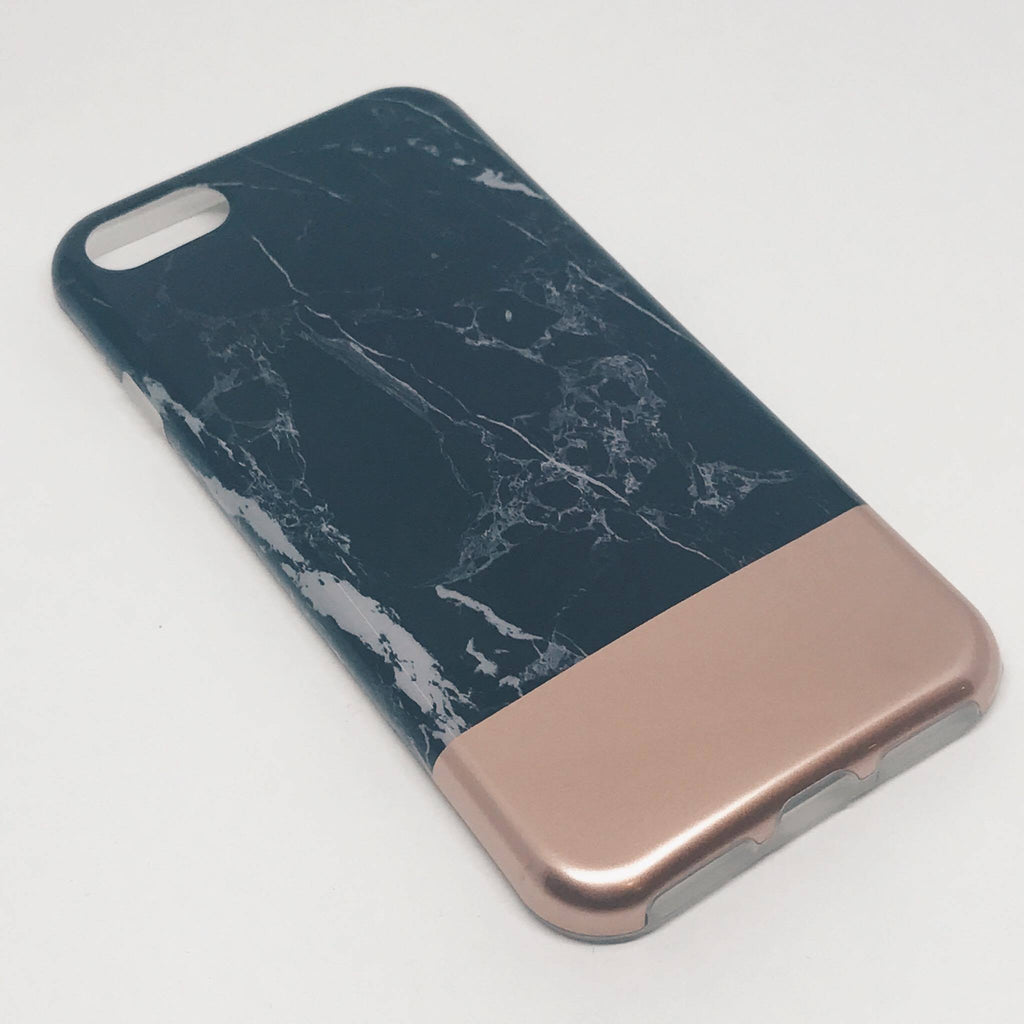 SÍMAHULSTUR MARBLE BLACK/ROSE GOLD IPHONE 6 6S+ 7 7+