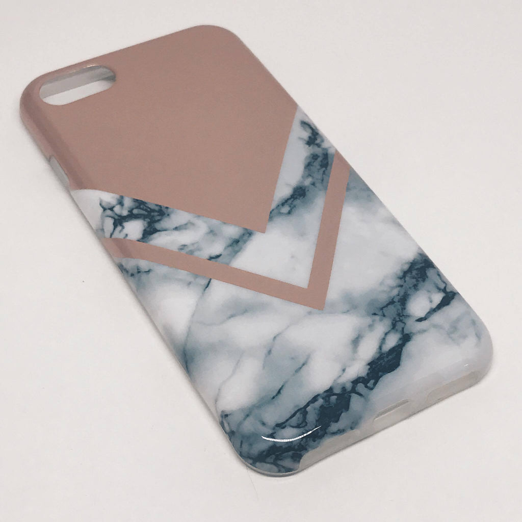 SÍMAHULSTUR MARBLE WHITE/V ROSE GOLD IPHONE 6 6S+ 7 7+ - Daría