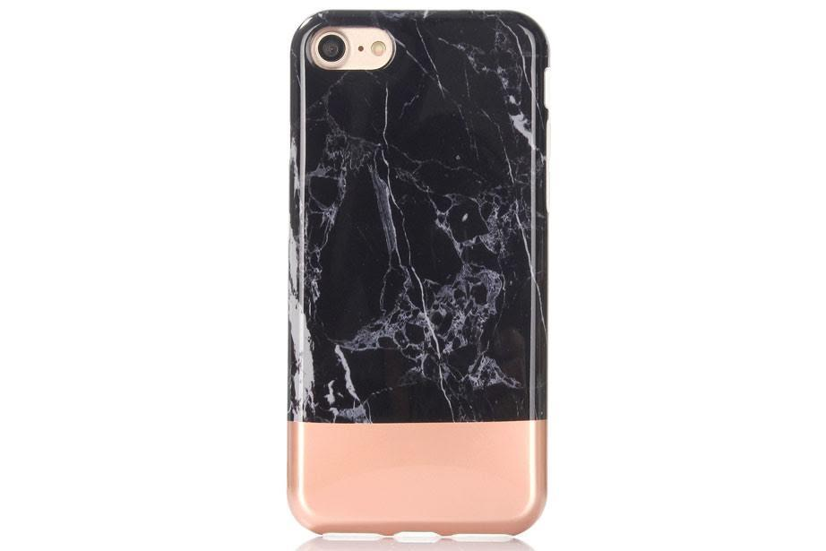 SÍMAHULSTUR MARBLE BLACK/ROSE GOLD IPHONE 6 6S+ 7 7+ - Daría