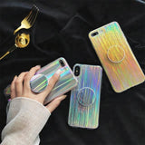 Stripe Silver með Pop Socket IPHONE 6. 6S. 6 PLUS. 6S PLUS. 7. 7 PLUS. 8. X - Daría