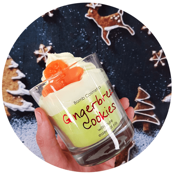 Gingerbread Cookies Piped Glass Candle