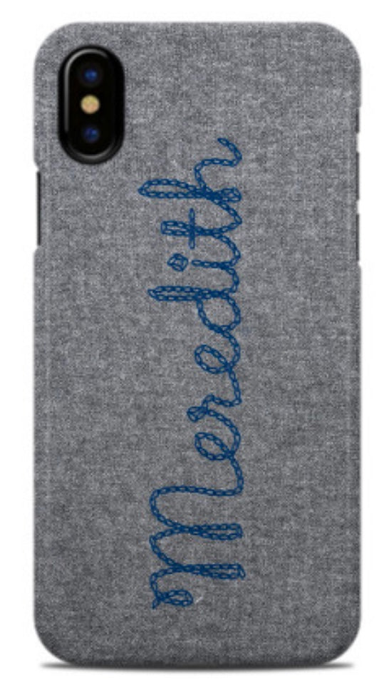 Matt Grey Chain Stitch Letter Phone Case (3 options)