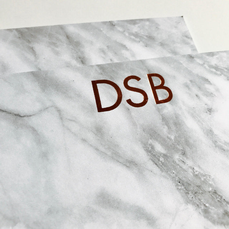 Hand Foiled Marble Grey Marble Deluxe Triple Thick Stationery