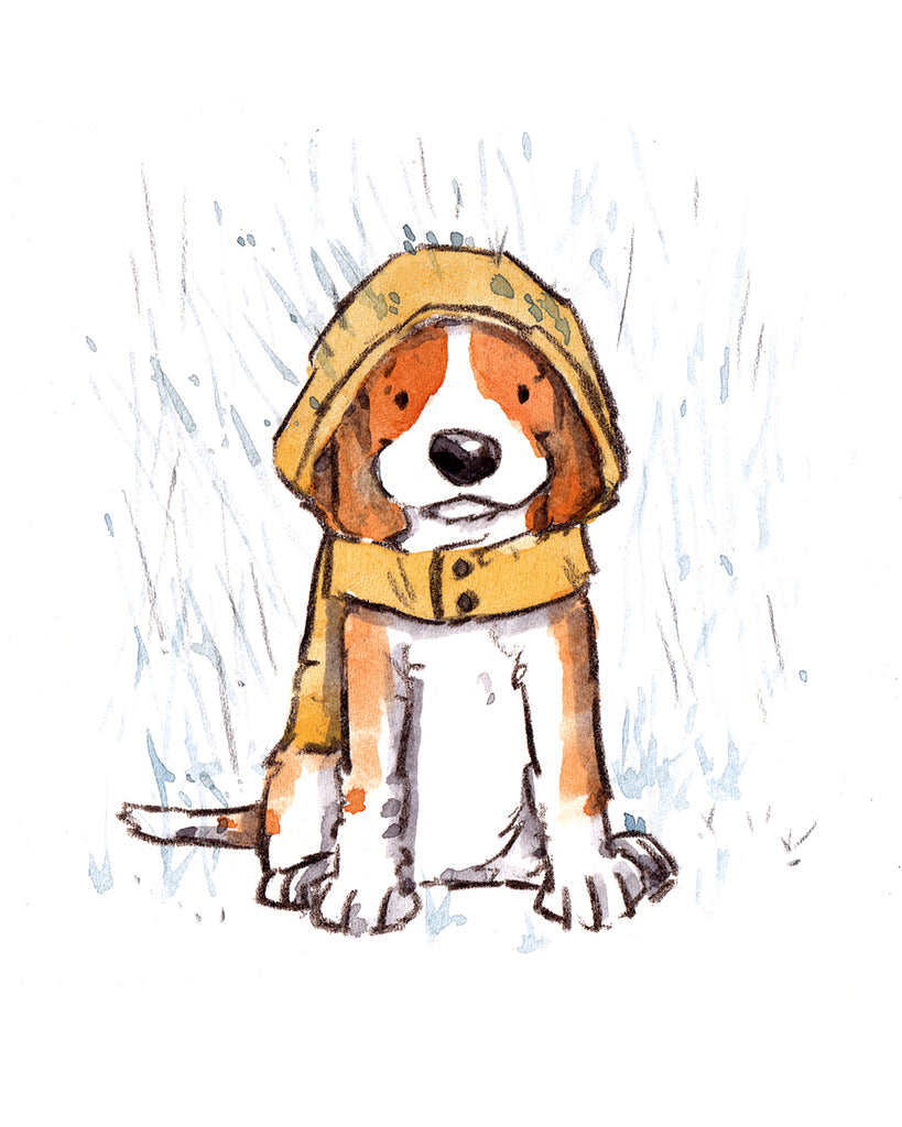Beagle in a jacket, 8 x 10 inch giclee print