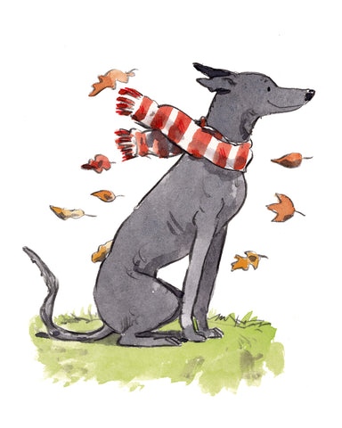 Autumnal Greyhound, 8 x 10 inch giclee print