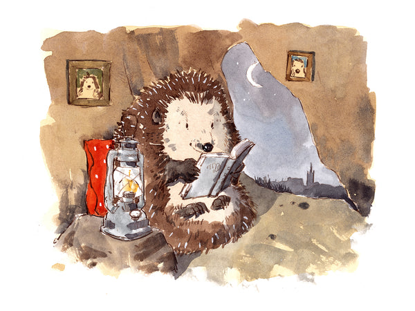 Reading Hedgehog Prints. 8 x 6 inches, five with one free, £29 pre-order