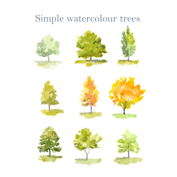 Simply watercolour trees, pdf guide