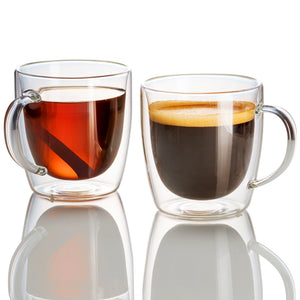 ÉLITE - Set of 2 Double Wall Glass Mugs | 14 Oz - JECOBI