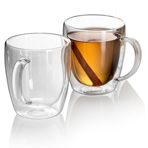 INDULGE - Set of 4 Double Wall Glass Mugs 10 Oz - JECOBI