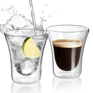 Set of 2 Double Wall Coffee Mug Glass 8.5 Oz - JECOBI