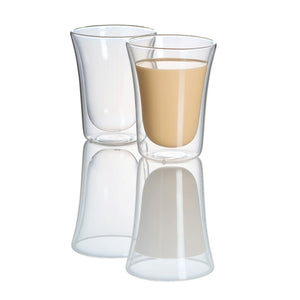 CHARM - Set of 2 Double Wall Glass Mugs | 14 Oz - JECOBI