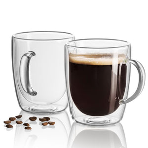 Set of 2 double wall insulated Glass Coffee Mugs 18 Oz - JECOBI