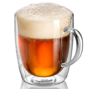 GRAIN - Set of 1 Double Wall Glass  Beer Mugs 17 Oz