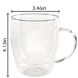 INDULGE - Set of 2 Double Wall Glass Mugs 10 Oz - JECOBI