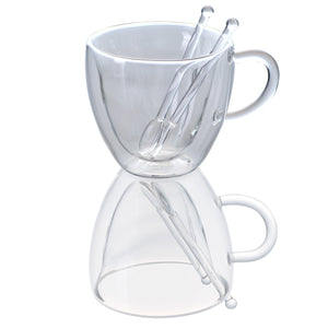 Set of 2 Heart Shaped Double Wall Glass Mug With 2 Glass Spoons 8.5 oz - JECOBI