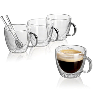 CAFECITO - Set of 4 Double Wall Glass Mugs + 2 Glass Spoons | 5.4 Oz - JECOBI