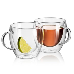 COZY - Set of 2 Double Wall Glass Mugs | 8 Oz - JECOBI