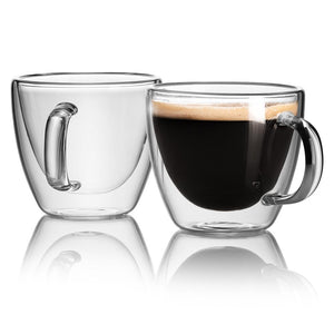 CAFECITO - Set of 2 Double Dall Glass Mugs| 5.4 Oz - JECOBI