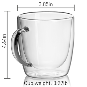 GRAIN - Set of 2 Double Wall Glass  Beer Mugs 18 Oz - JECOBI