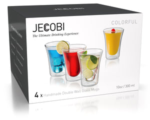 COLORFUL - Set of 4 Double Wall Glass Mugs | 10 Oz - JECOBI