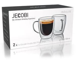 ÉLITE - Set of 4 Double Wall Glass Mugs | 14 Oz - JECOBI