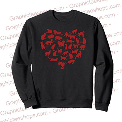 Cat Lady Valentines Day Gift Cats in Heart Shape Sweatshirt - Valentine