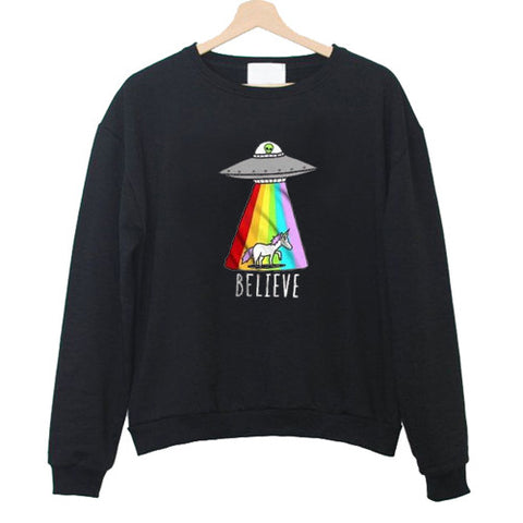 alien and unicorn believe Unisex Sweatshirts