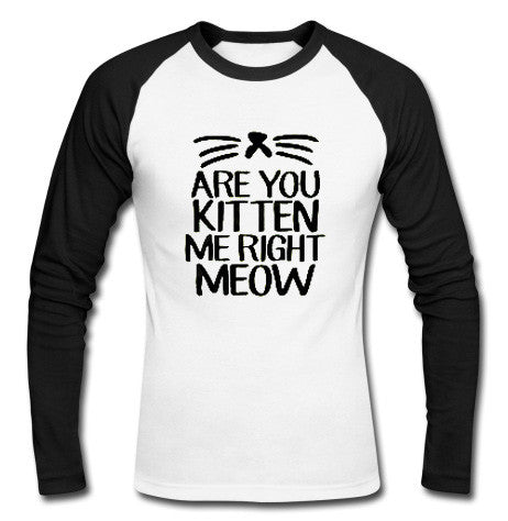 are you kitten me right meow raglan longsleeve t shirt