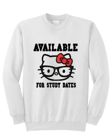 available for study dates hello kitty sweatshirt