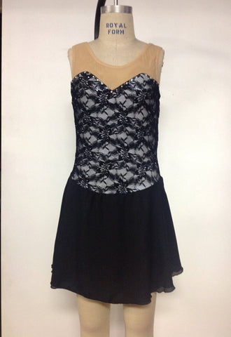 Adult Medium Black lace skating dress