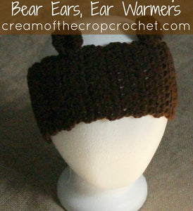 Bear Ear Warmers Crochet Pattern