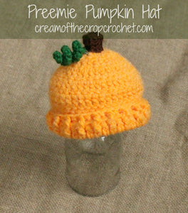 Preemie Newborn Pumpkin Hat Crochet Pattern